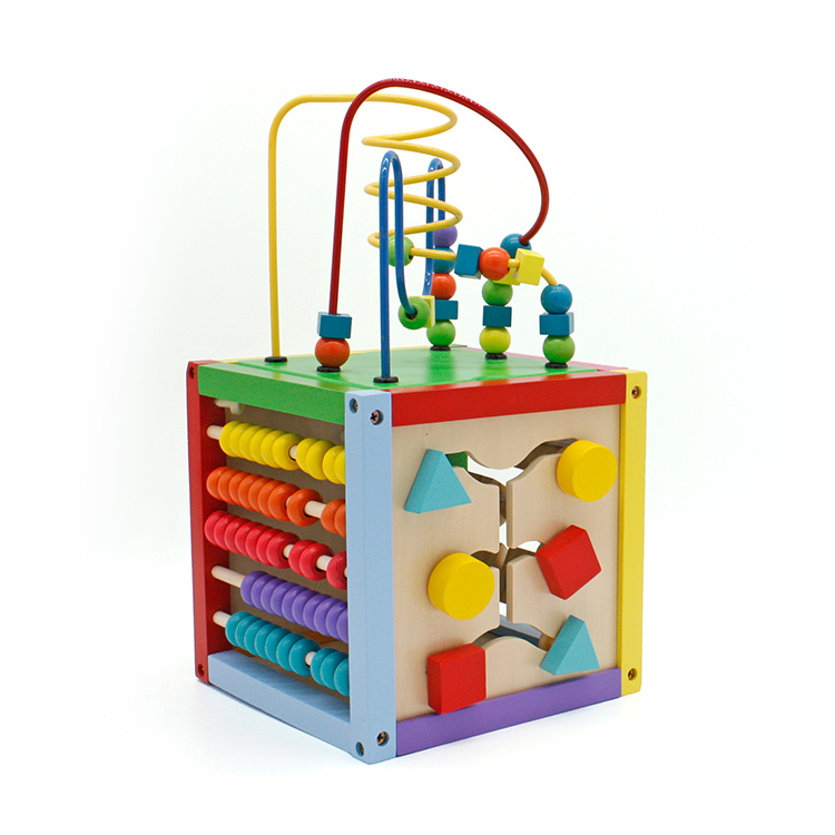 Child Learning Wooden Activity Multifunctional Bead Cube Maze Toys For Kids  Gift