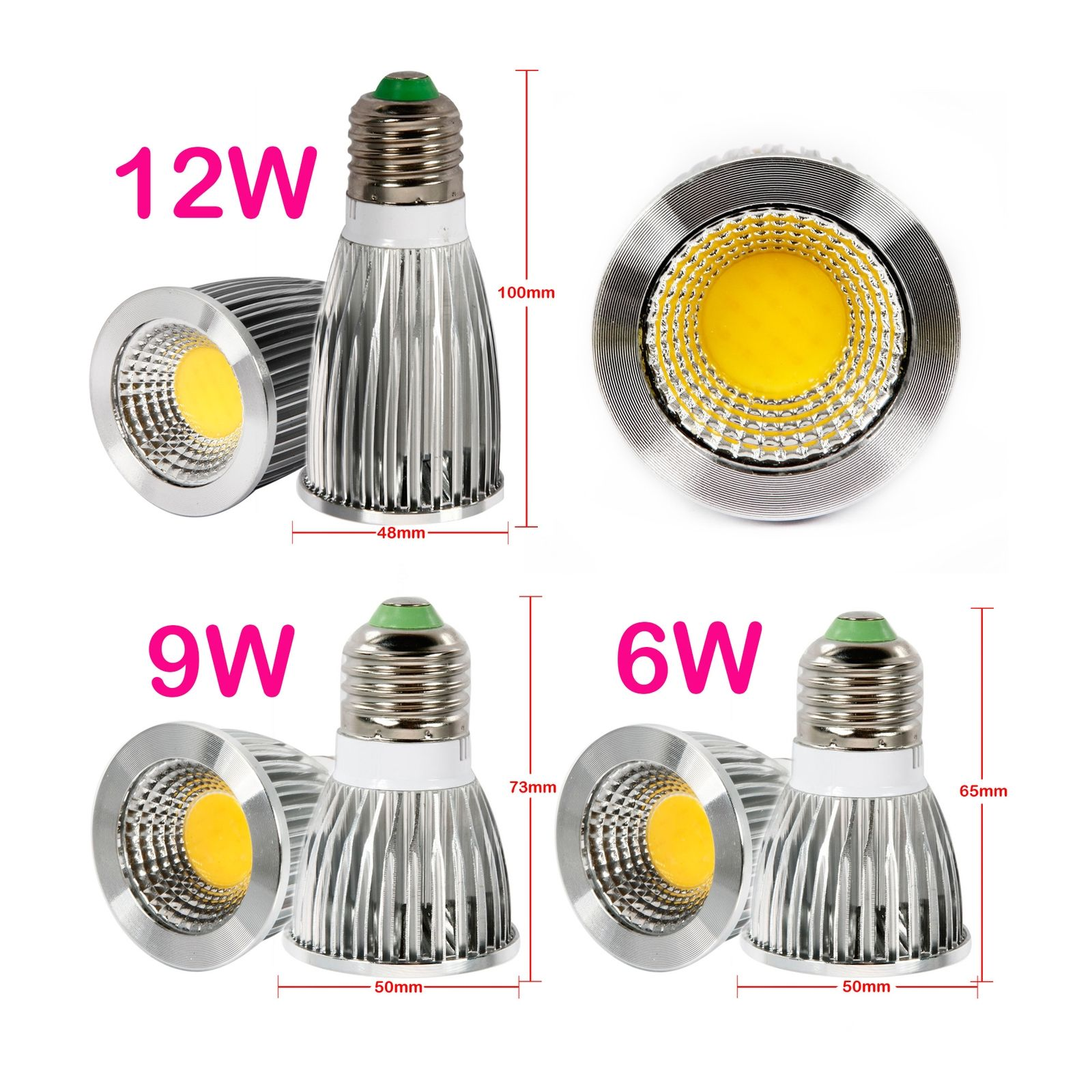 super bright 6w 9w 12w mr16 gu10 e27 dimmable led cob spot downlight bulb lights ebay. Black Bedroom Furniture Sets. Home Design Ideas
